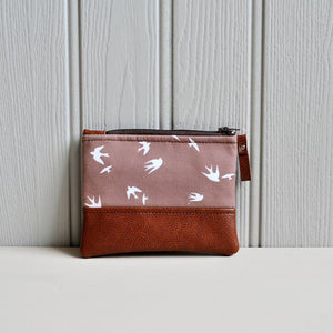 Recycled Brown Leather Coin Purse Taupe