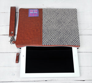 Recycled Brown Leather Tablet iPad Case Samsung sleeve japanese shibori top view