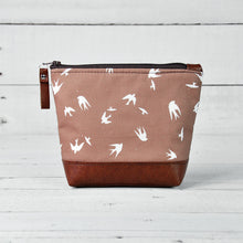 Load image into Gallery viewer, Small Recycled Leather Make Up Bag Taupe Bird Front View.jpg