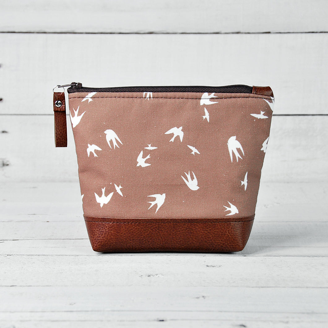 Small Recycled Leather Make Up Bag Taupe Bird Front View.jpg
