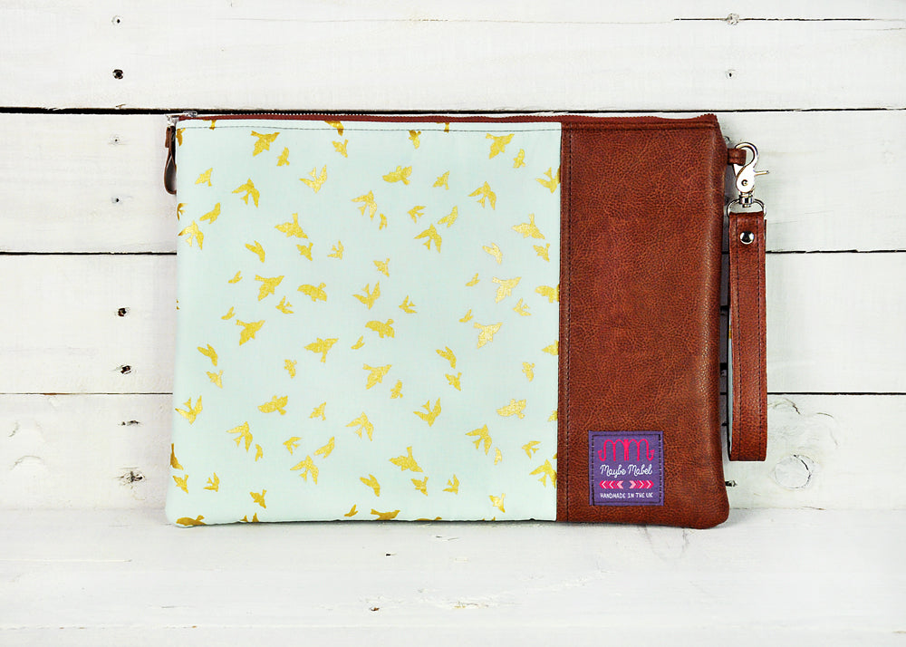 Recycled Brown Leather Laptop Macbook Case Blue and Gold Bird Front View