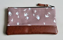 Load image into Gallery viewer, Recycled Brown Leather Pencil Case Taupe Bird Front View 2.jpg