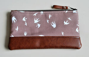 Recycled Brown Leather Pencil Case Taupe Bird Front View 2.jpg