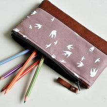 Load image into Gallery viewer, Recycled Brown Leather Pencil Case Taupe Bird Open View.jpg