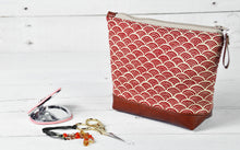 Load image into Gallery viewer, Small Recycled Leather Make Up Bag Red Japanese Wave Product View.jpg