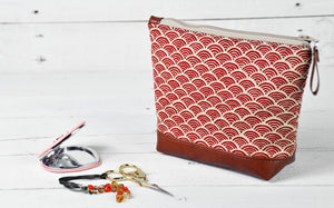 Small Recycled Leather Make Up Bag Red Japanese Wave Product View.jpg