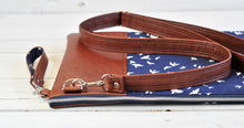Load image into Gallery viewer, Recycled Brown Leather Laptop Case Cross Body Bag Navy Blue Bird Detail View 2.jpg