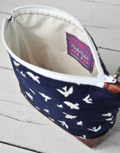 Load image into Gallery viewer, Small Recycled Leather Make Up Bag Navy Blue Bird Inside View.jpg
