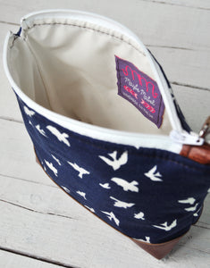 Small Recycled Leather Make Up Bag Navy Blue Bird Inside View.jpg