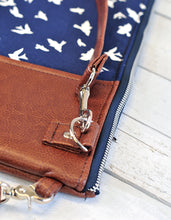 Load image into Gallery viewer, Recycled Brown Leather Laptop Case Cross Body Bag Navy Blue Bird Detail View.jpg