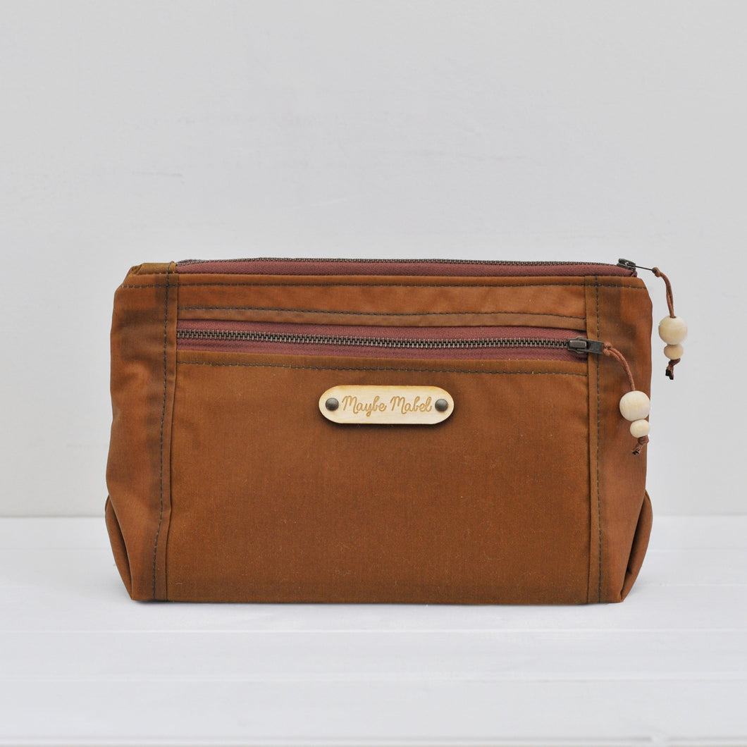 Vegan wax canvas wash bag in caramel main view