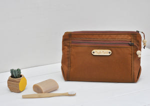 Vegan wax canvas wash bag make up bag in caramel