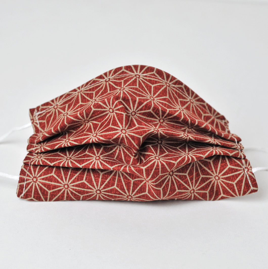 Pleated Face Covering - Red Sashiko