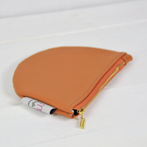 Recycled Leather Pouch - Orange