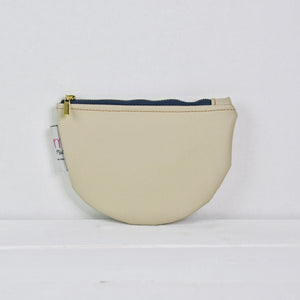 Recycled Leather Pouch - Cream