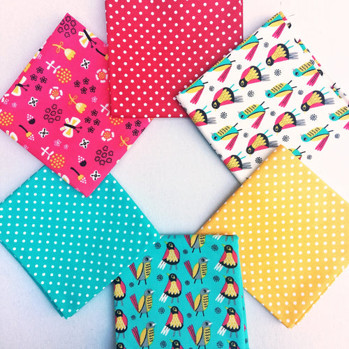 Fabric Bundle - Birds, Butterflies & Dots