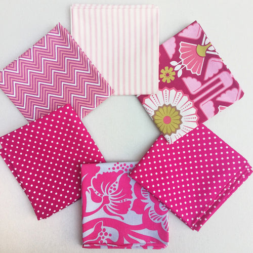Fabric Bundle - Pink Floral, Dots & Stripes