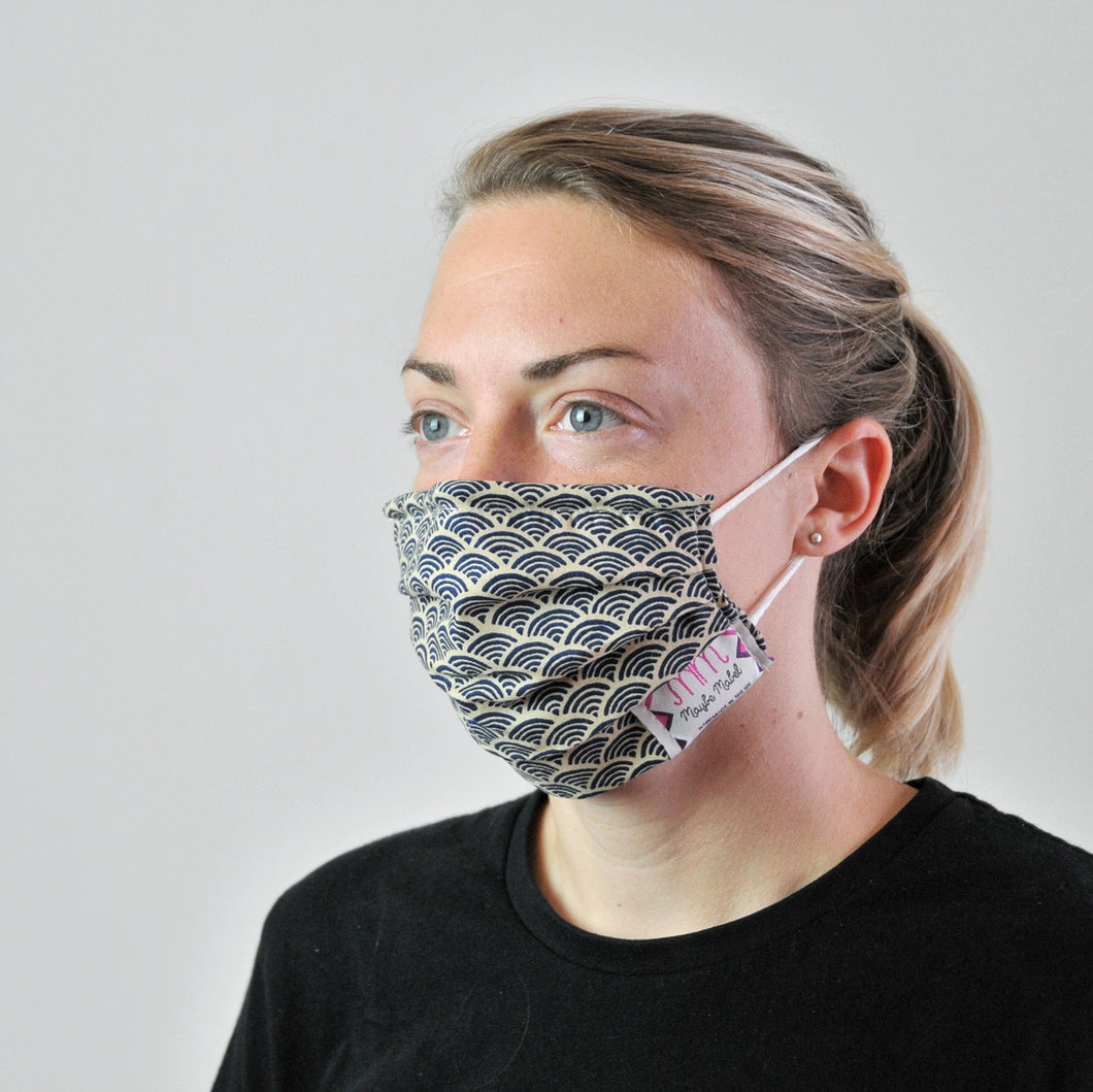 Pleated Face Covering - Blue Japanese Wave