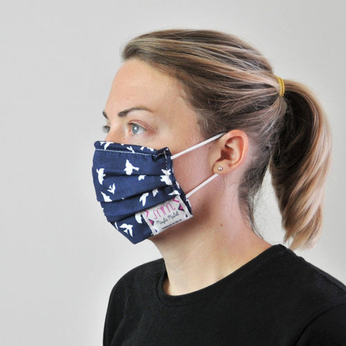 Pleated Face Covering - Navy Bird