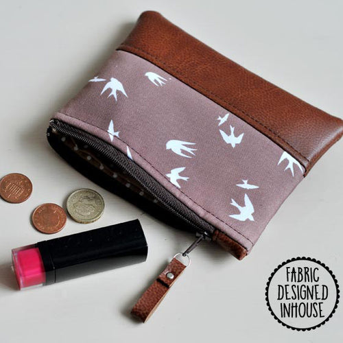 Coin Purse - Taupe Bird