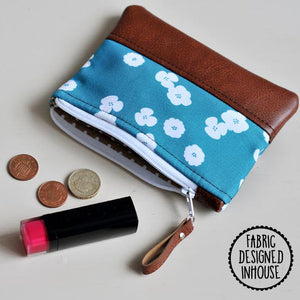 Coin Purse - Teal Flower
