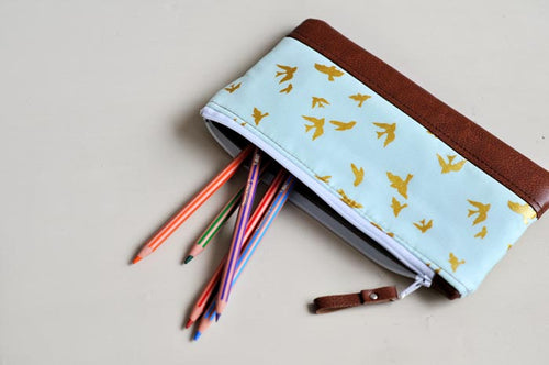 Pencil Case - Blue & Gold Birds