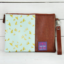 Load image into Gallery viewer, Recycled leather tablet case blue and gold birds