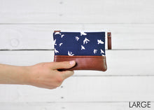 Load image into Gallery viewer, recycled leather coin purse navy bird large
