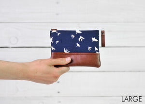 recycled leather coin purse navy bird large