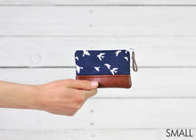 Load image into Gallery viewer, Recycled leather coin purse navy bird small