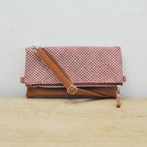 Recycled leather fold over clutch purse red shibori