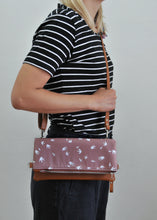 Load image into Gallery viewer, Recycled leather fold over bag in taupe bird