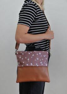 recycled leather fold over purse in taupe bird