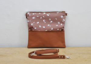 Recycled leather fold over clutch purse in taupe bird