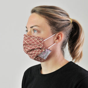 Pleated Face Covering - Red Japanese Wave