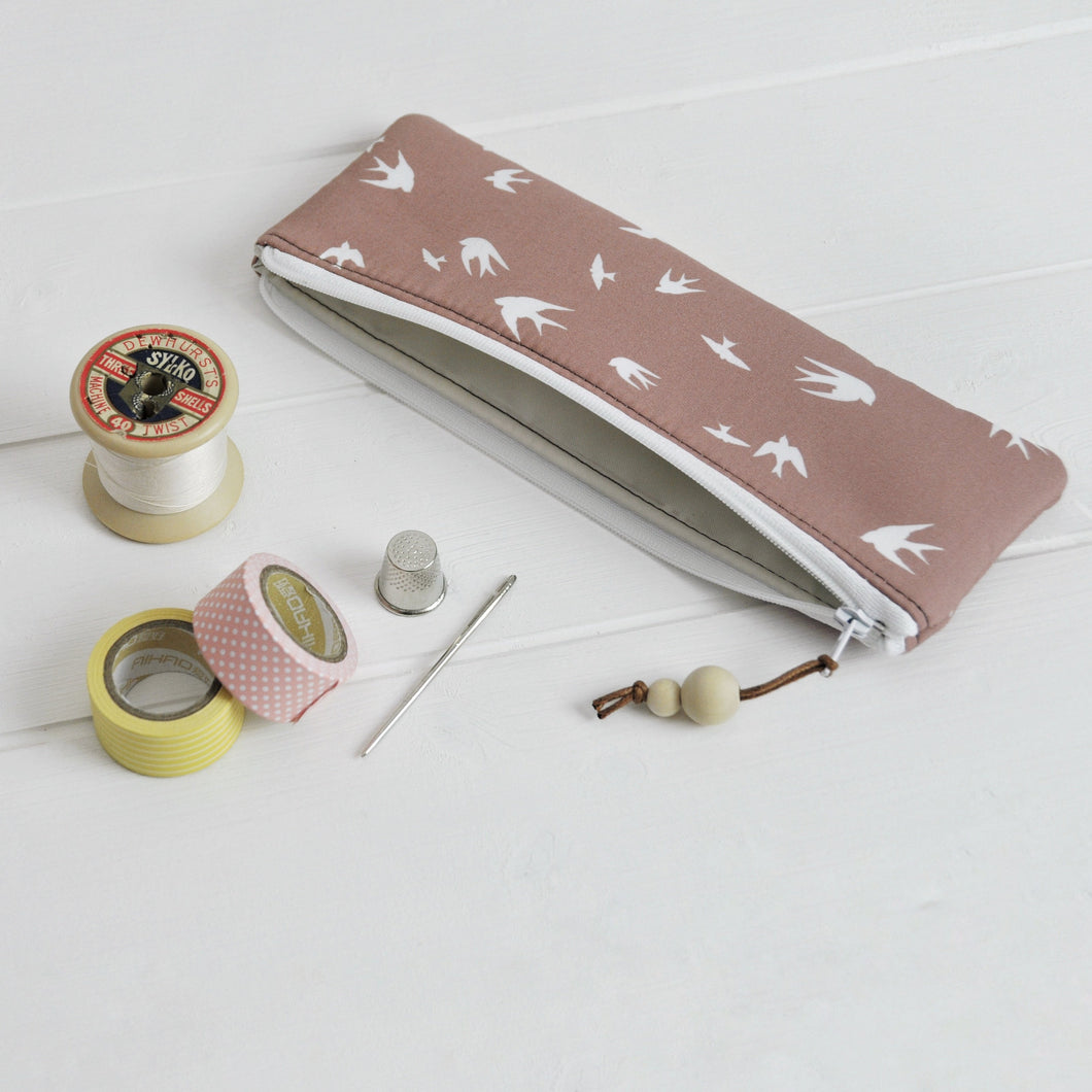 Small zipped pouch pencil case in taupe bird main view