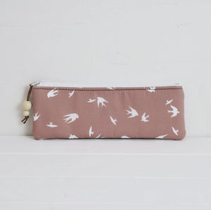 Small zipped pouch pencil case in taupe bird main view handmade in the uk