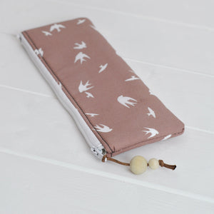 Small zipped pouch pencil case in taupe bird main view close up view