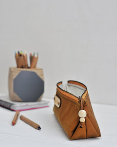 Wax canvas pencil case in caramel open view