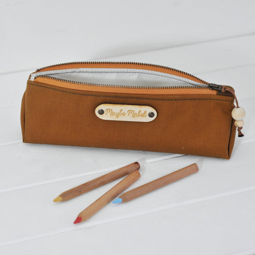 Wax canvas pencil case in caramel