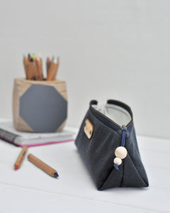 Wax canvas pencil case in navy side view