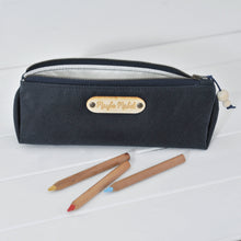 Load image into Gallery viewer, Wax canvas pencil case in navy main view