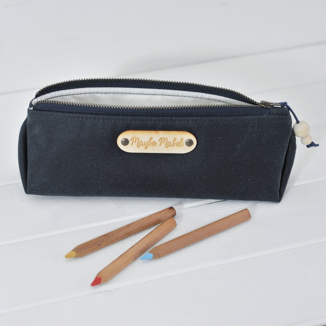 Wax canvas pencil case in navy main view