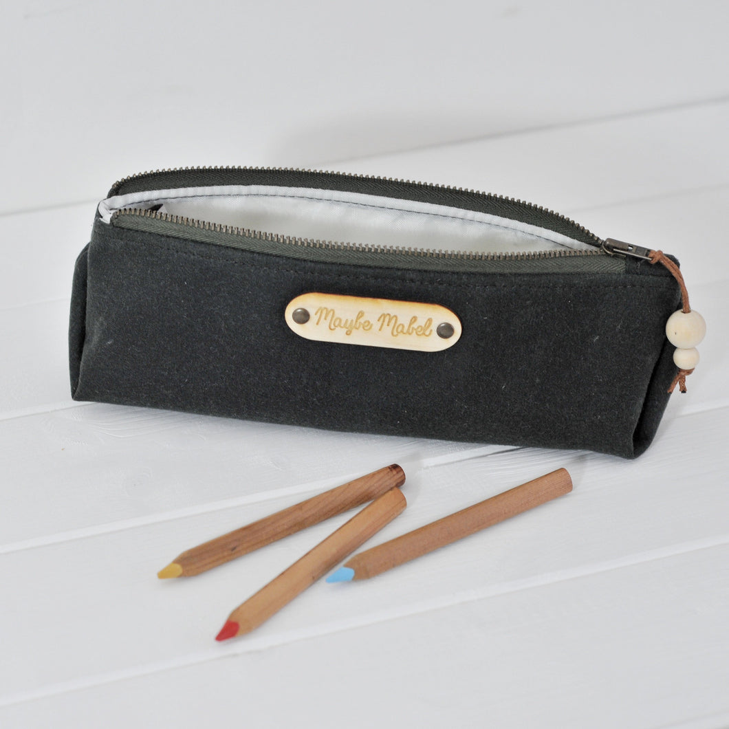 Wax canvas pencil case in green