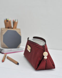 Wax canvas pencil case in red open view