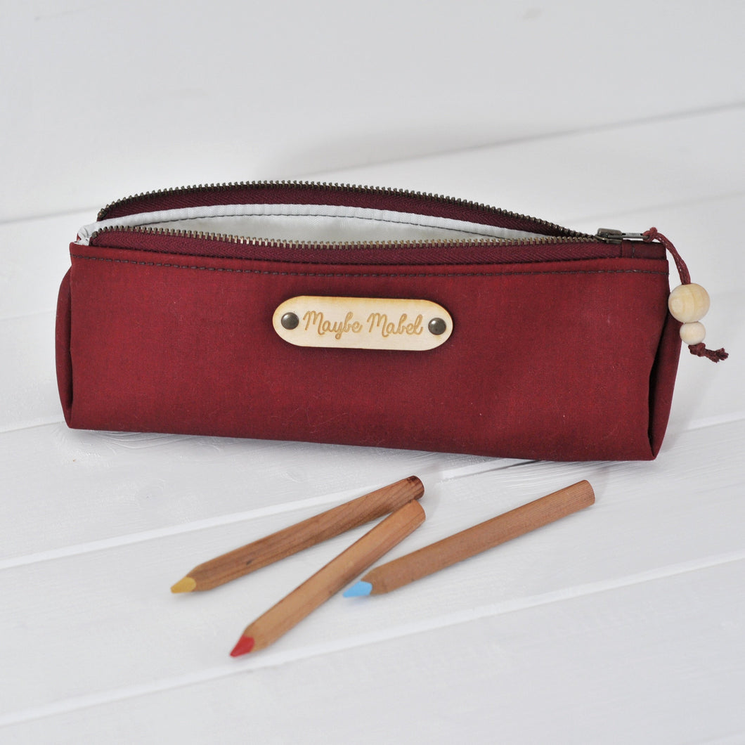 Wax canvas pencil case in red main view