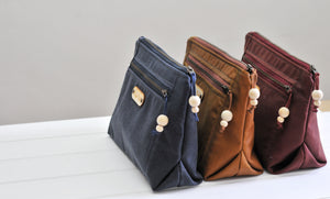 Vegan wax canvas wash bags