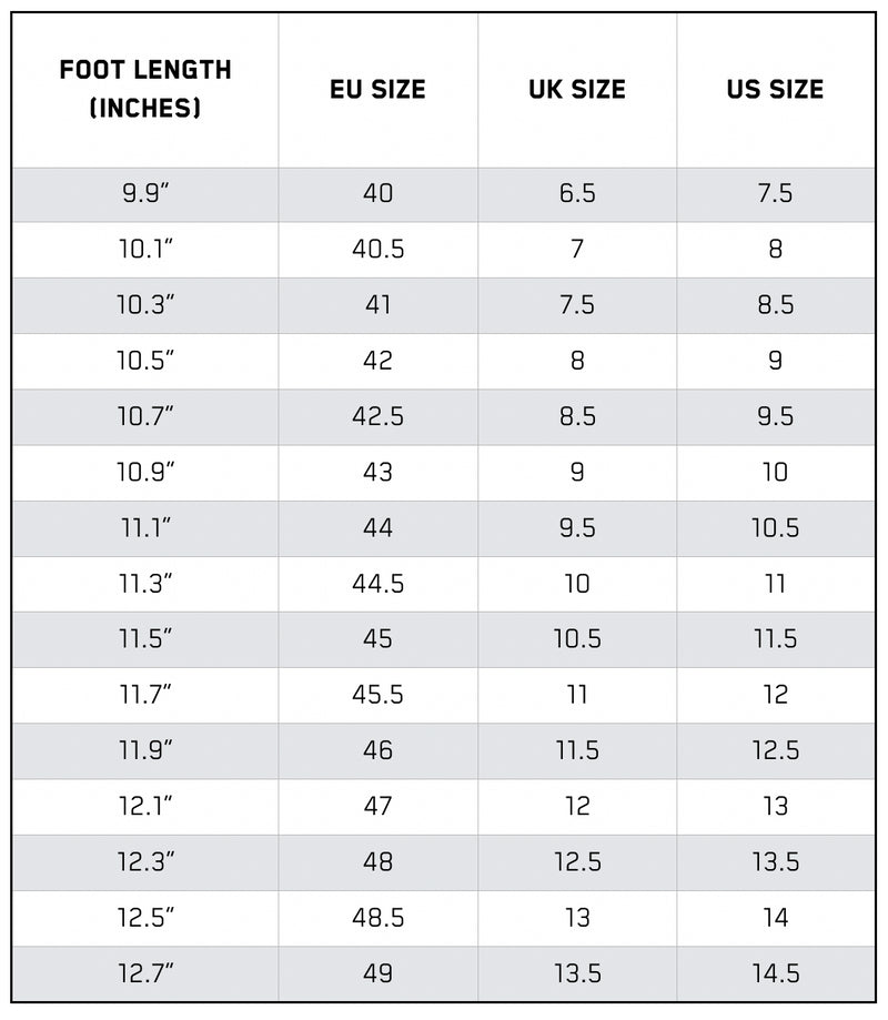 Reebok-mens-footwear Size Guide