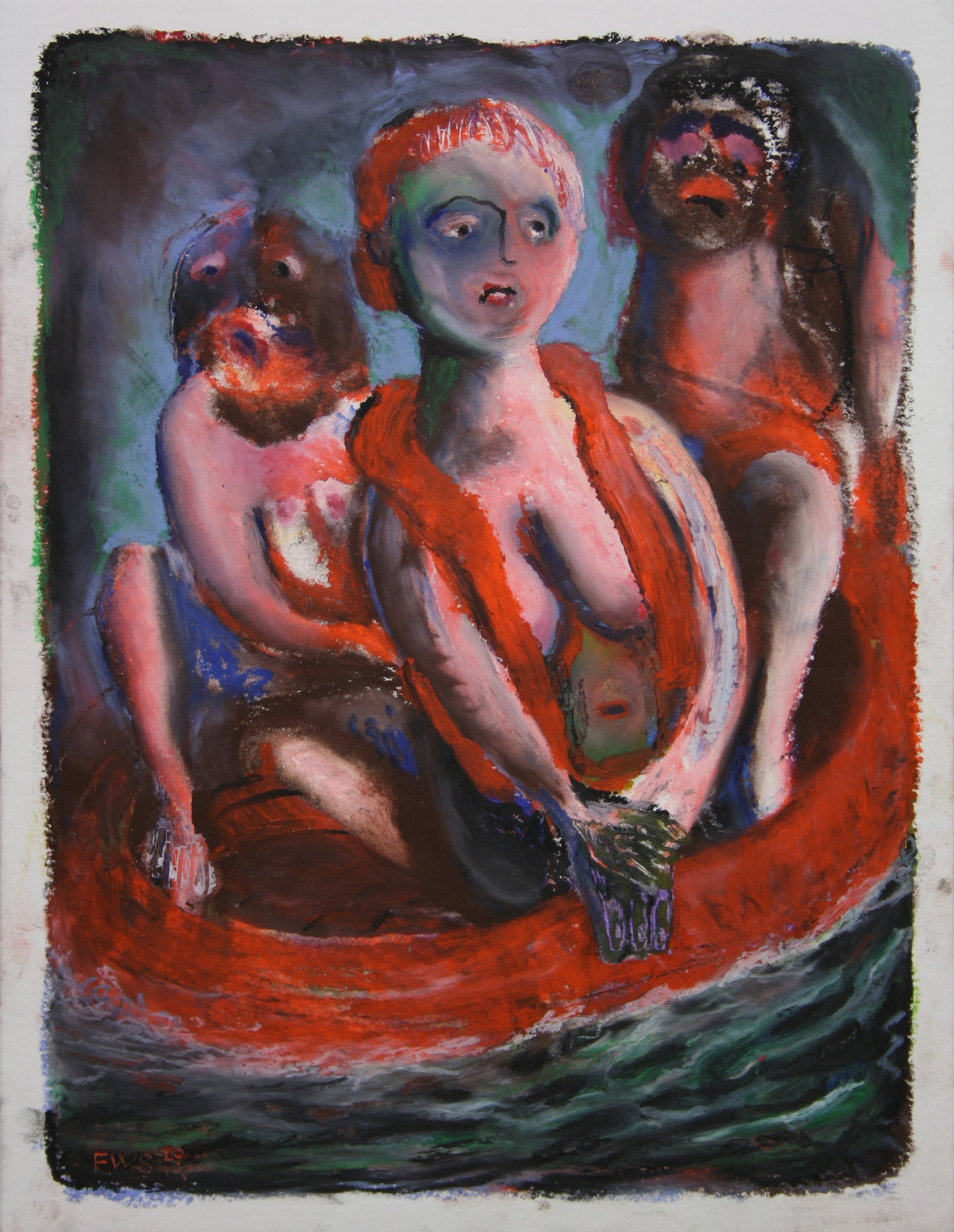 THREE FIGURES IN RUBBER BOAT