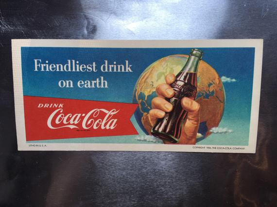 Vintage 1956 - Coca-Cola - Hand Holding Bottle Ink Blotter - New Old Stock